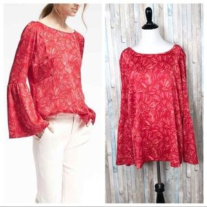 Banana Republic XL Floral Bell Sleeve Blouse Top